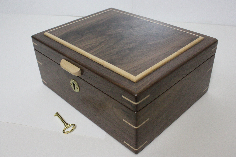 Black Walnut Locking Box For Sale