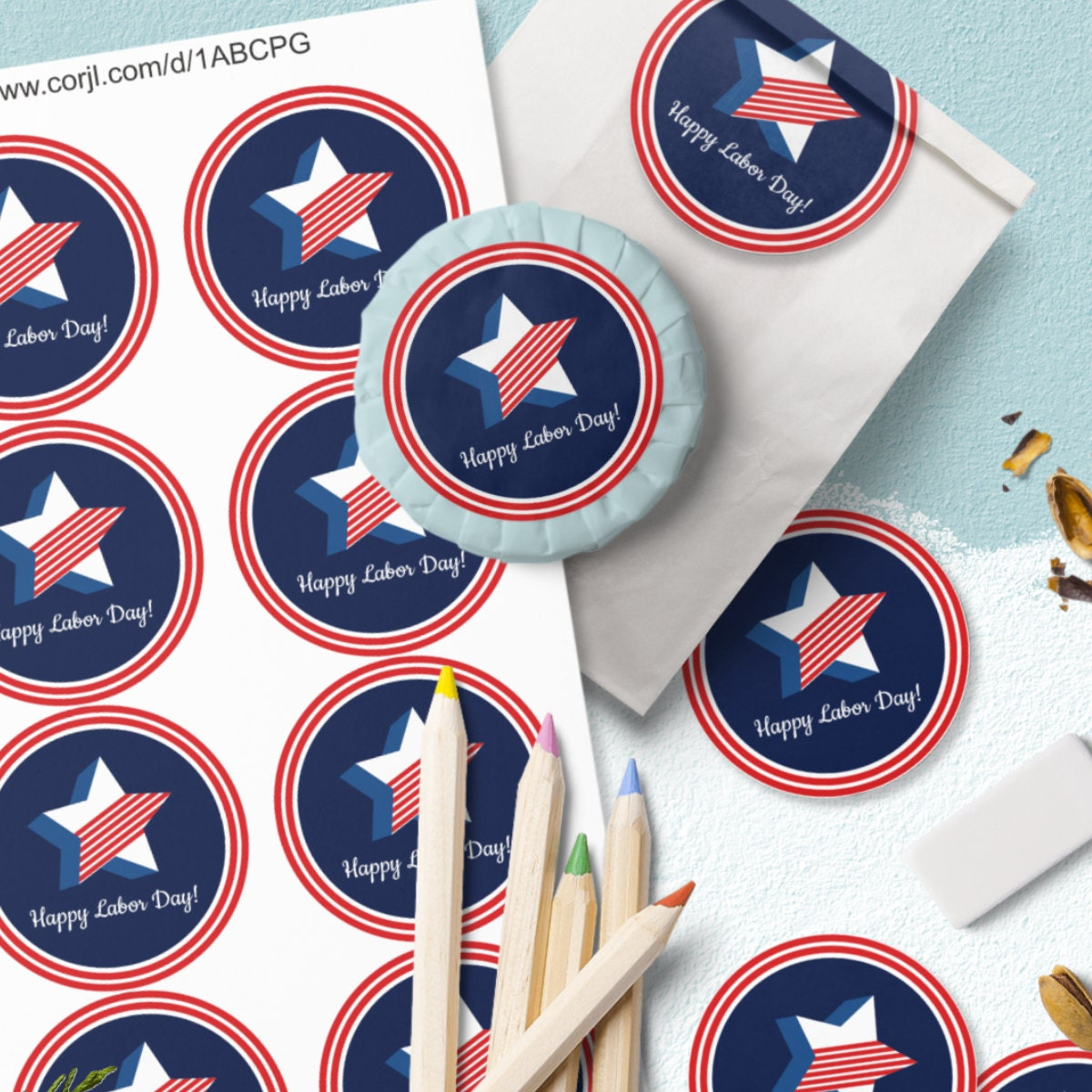 Happy Labor Day Free Printable Labels