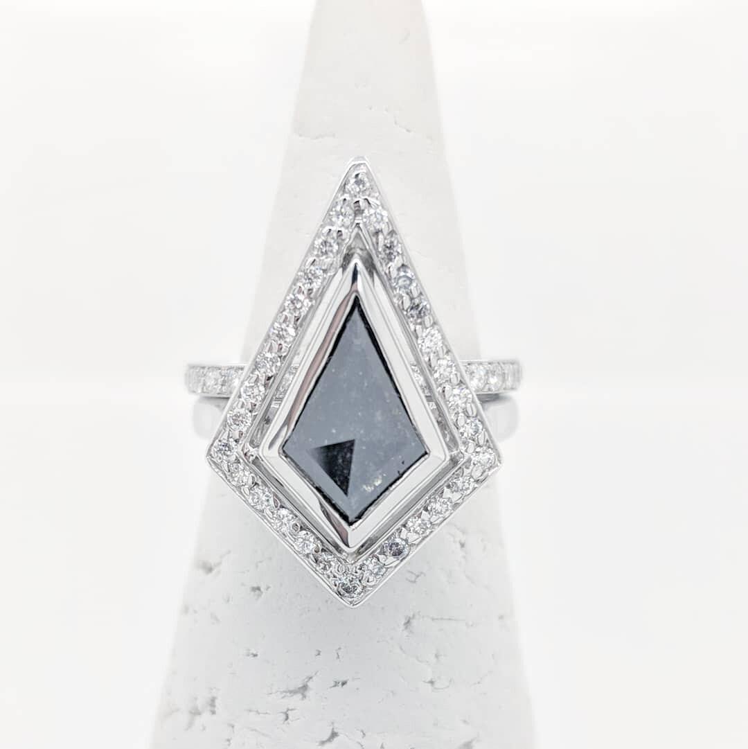 Art Deco Inspired Salt and Pepper Diamond.