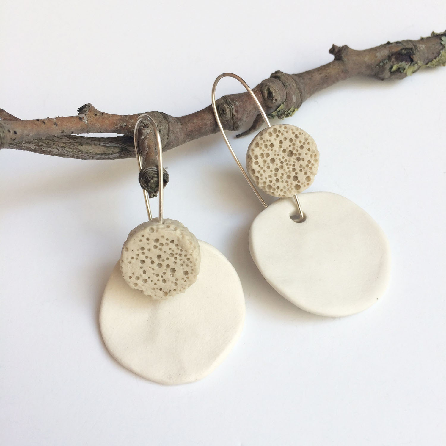 Porcelain and lava earrings
