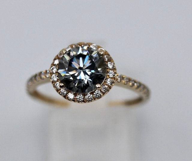 Dark gray moissanite in solid yellow gold halo ring paved with created diamonds - last chance to get it at the unbelievably low price!