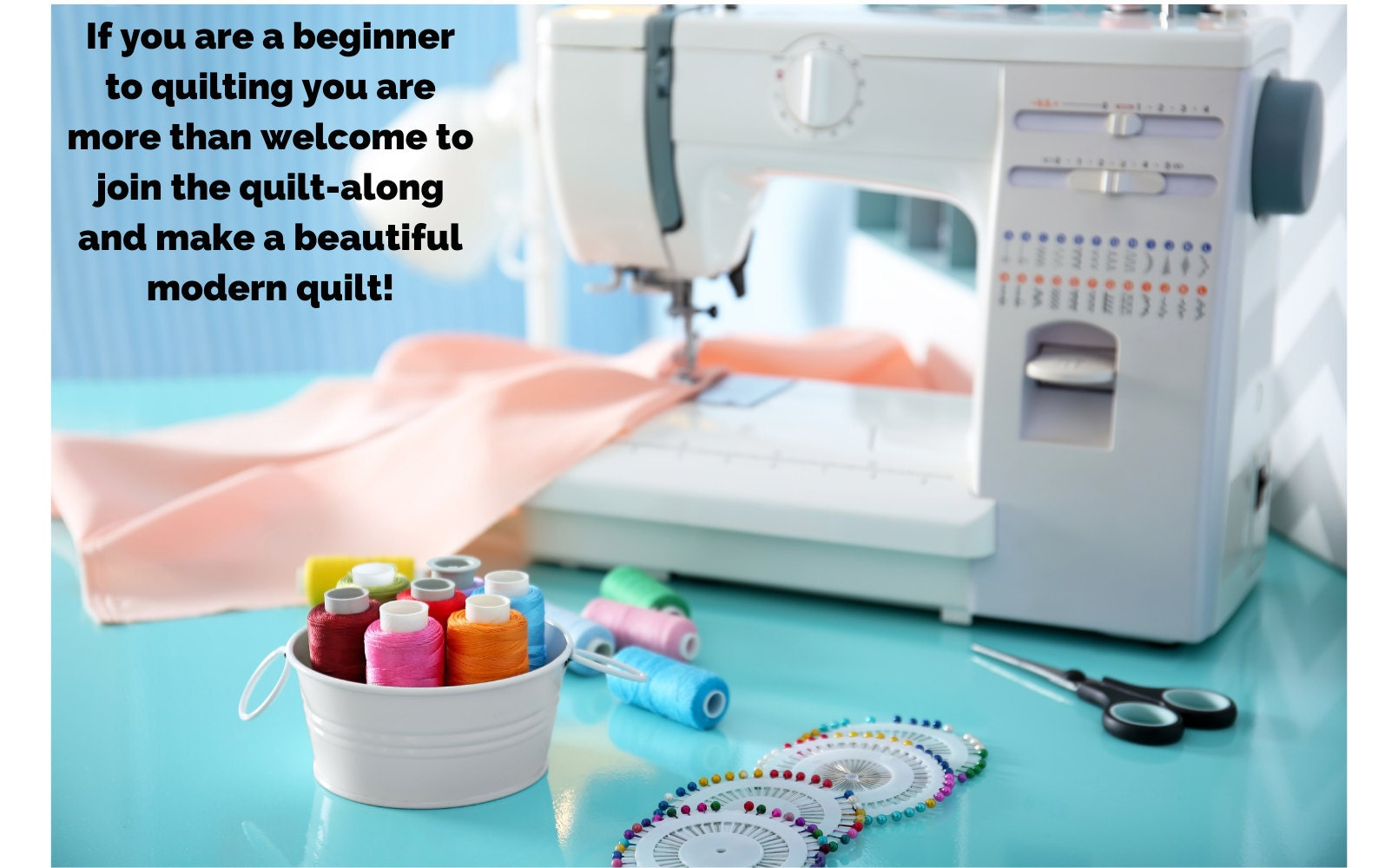 If you are a beginner to quilting you are more than welcome to join the quilt-along and make a beautiful modern quilt! Image shows a sewing machine with peach coloured fabric being sewn into a quilt.