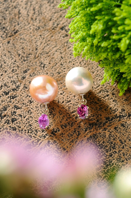 fun quirky pearl earrings, pearl and sapphire earrings, baroque pearl earrings