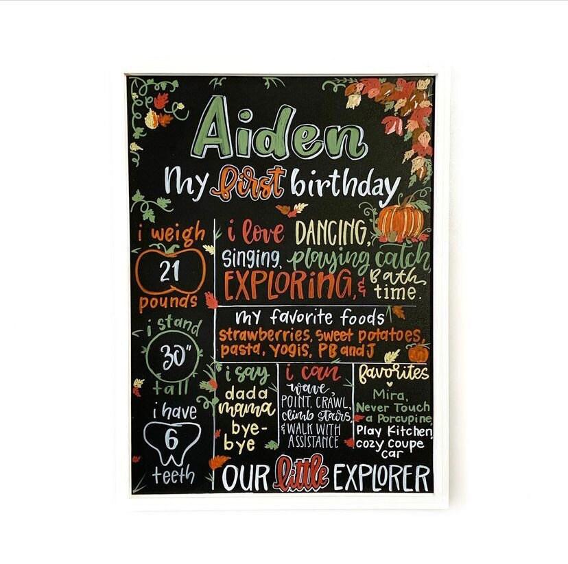 First Birthday Milestone Board-Pumpkin Themed