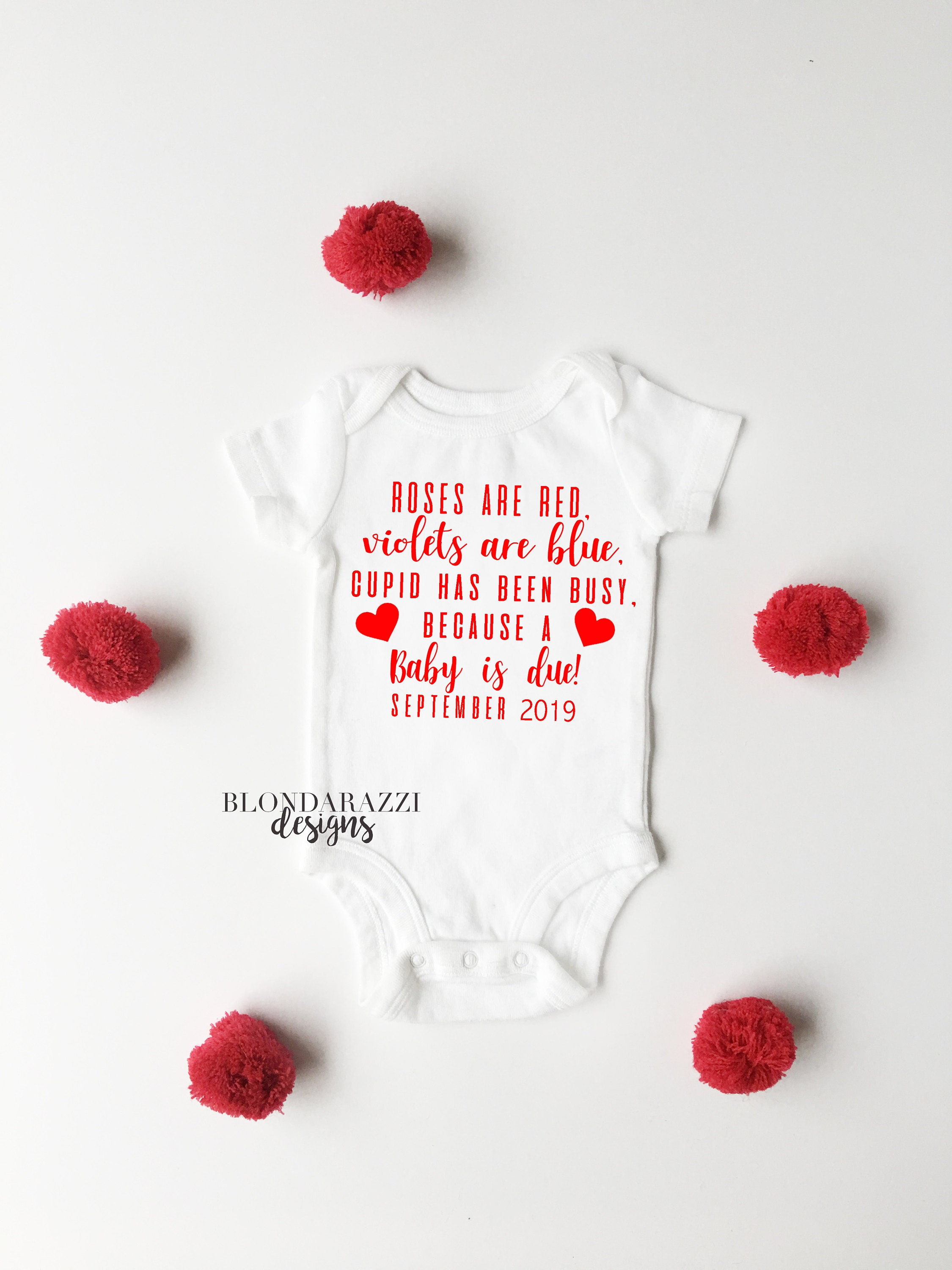 roses are red violets are blue baby announcement onesie for valentines day pregnancy