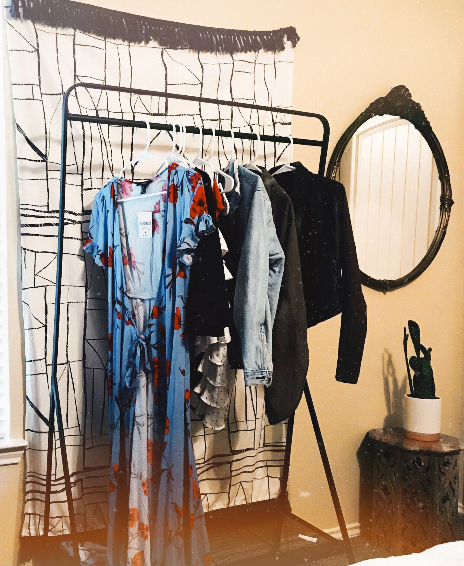 vintage mirror, target tapestry, and rack all under 40