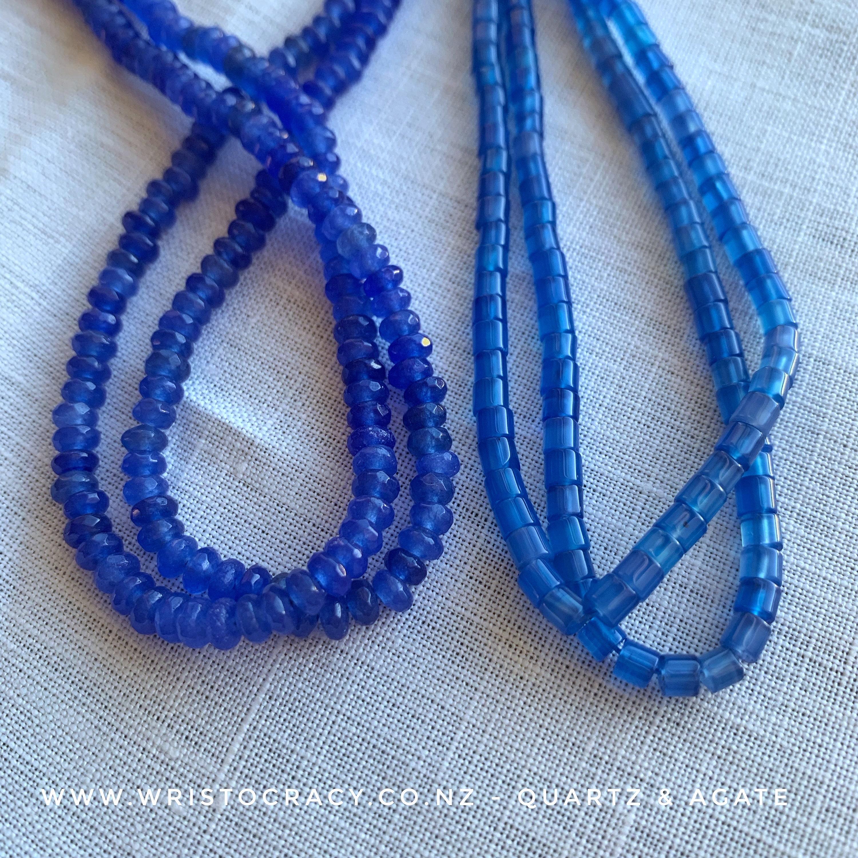 Sapphire Quartz and Blue Agate (natural)