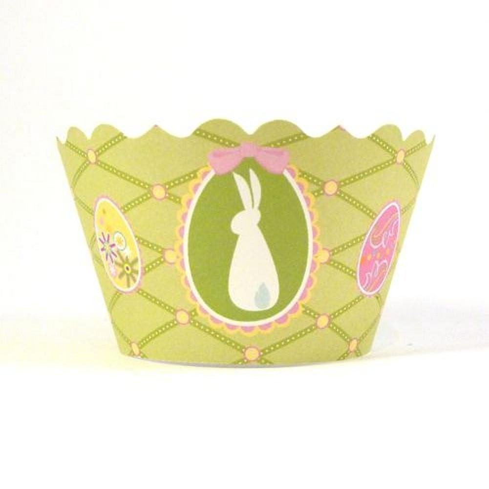 cupcake wrapper in light green with bunny and Easter eggs