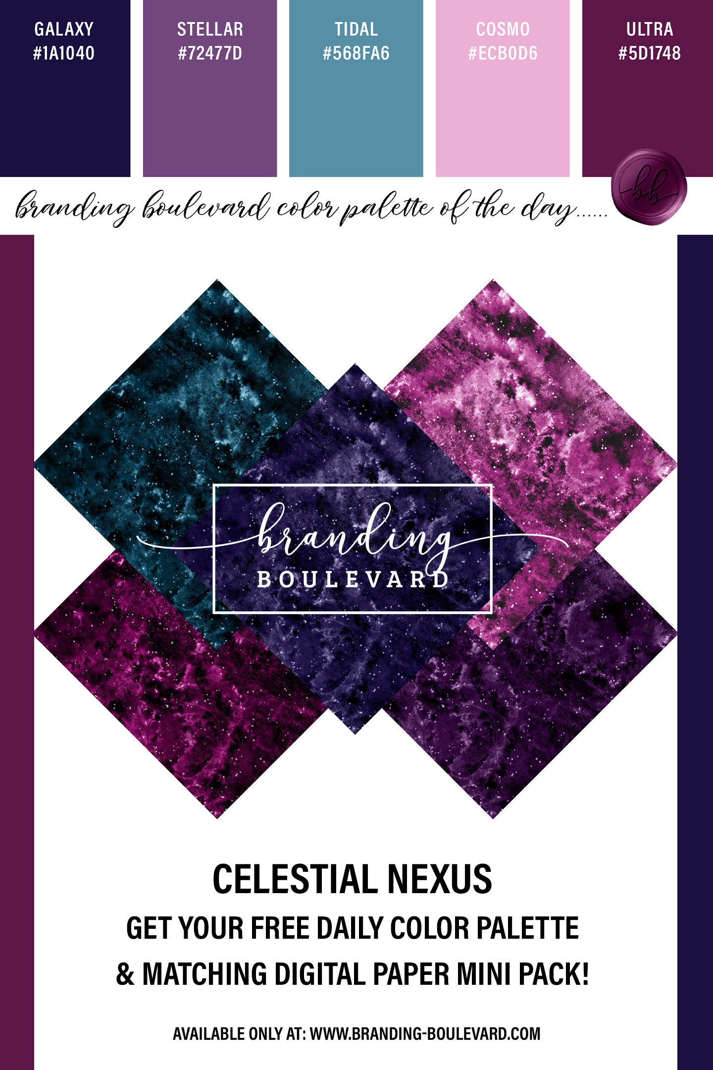 Free Galaxy Digital paper Pack - Celestial Nexus Color Palette and Free Backgrounds