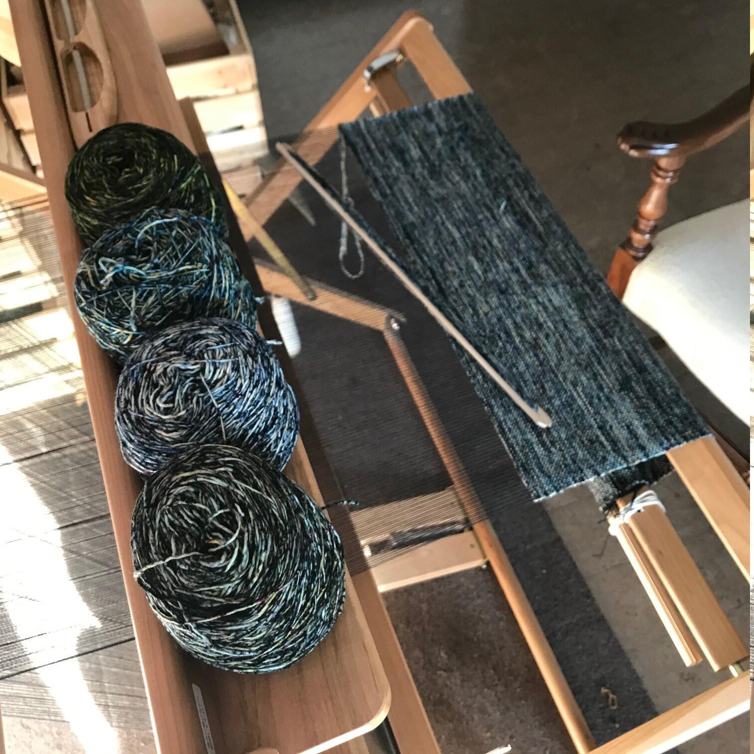 Saori loom with Malabrigo Mechita Speckled weft scarves.