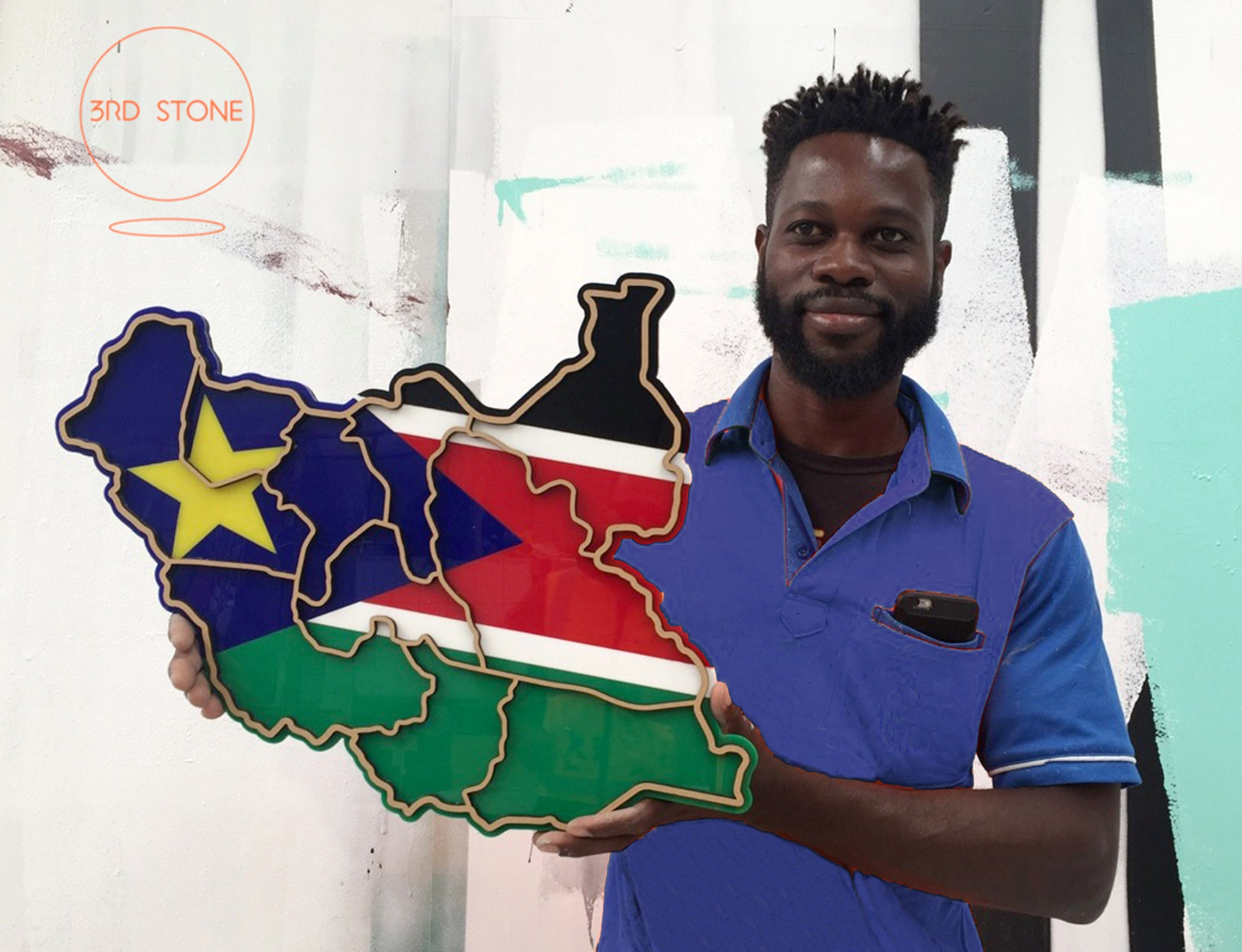 South Sudan map / flag combination