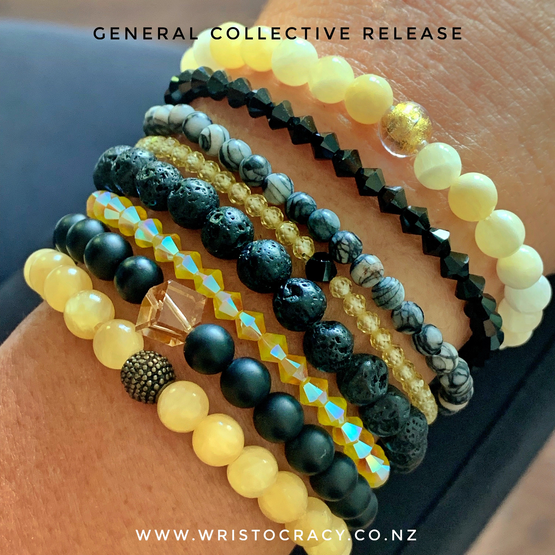 Honey Jade with Honey Calcite set and Zebra Jasper, Lava Stone & Swarovski