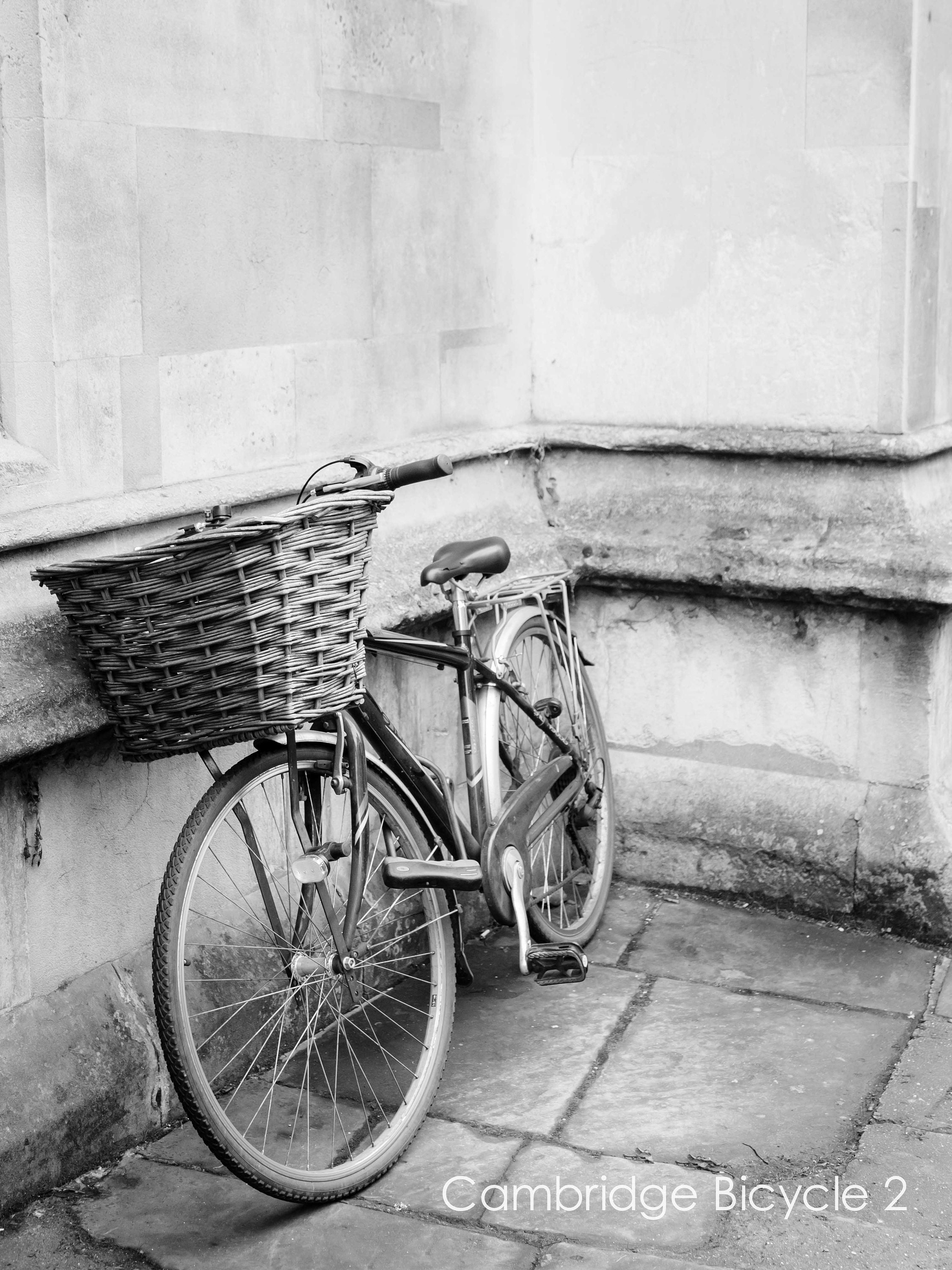 cambridge art print in black and white of bicycle parked with wicker basket in custom sizes and finishes- limited edition