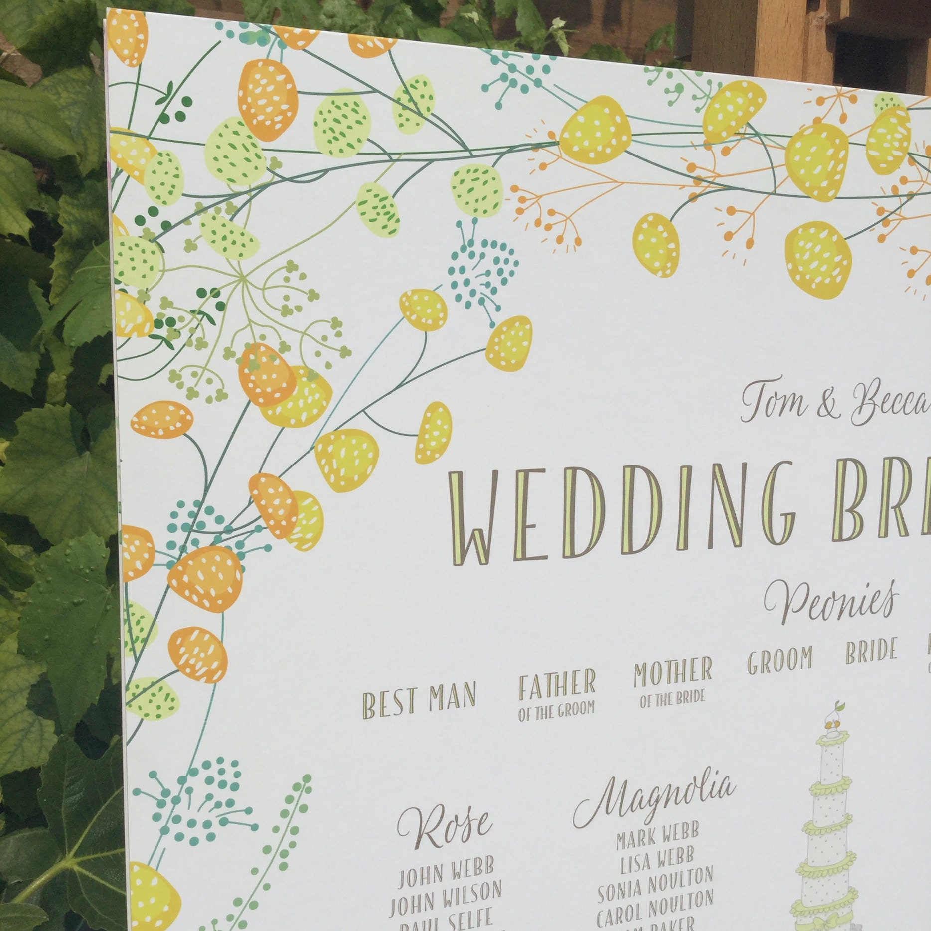 Yellow Floral Table Plan