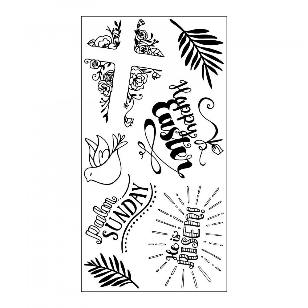 Sizzix stamp set for Easter with cross palm Sunday he is risen