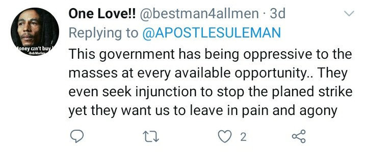 One Love responds to Apostle Sulemans tweet
