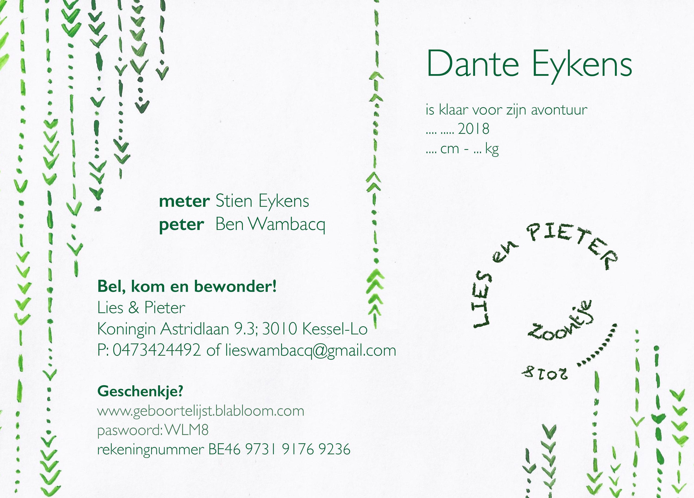 achterzijde geboorte kaartje Dante