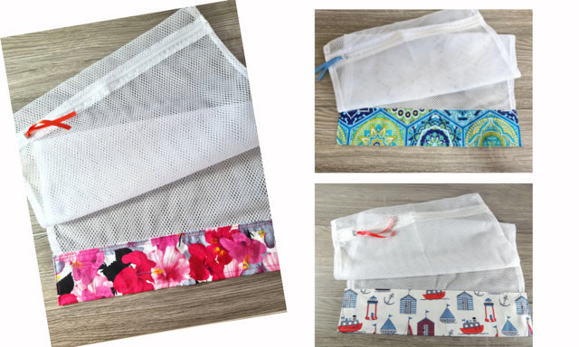A pretty collection of laundry bags which are perfect for pre-washing quilt fabrics.