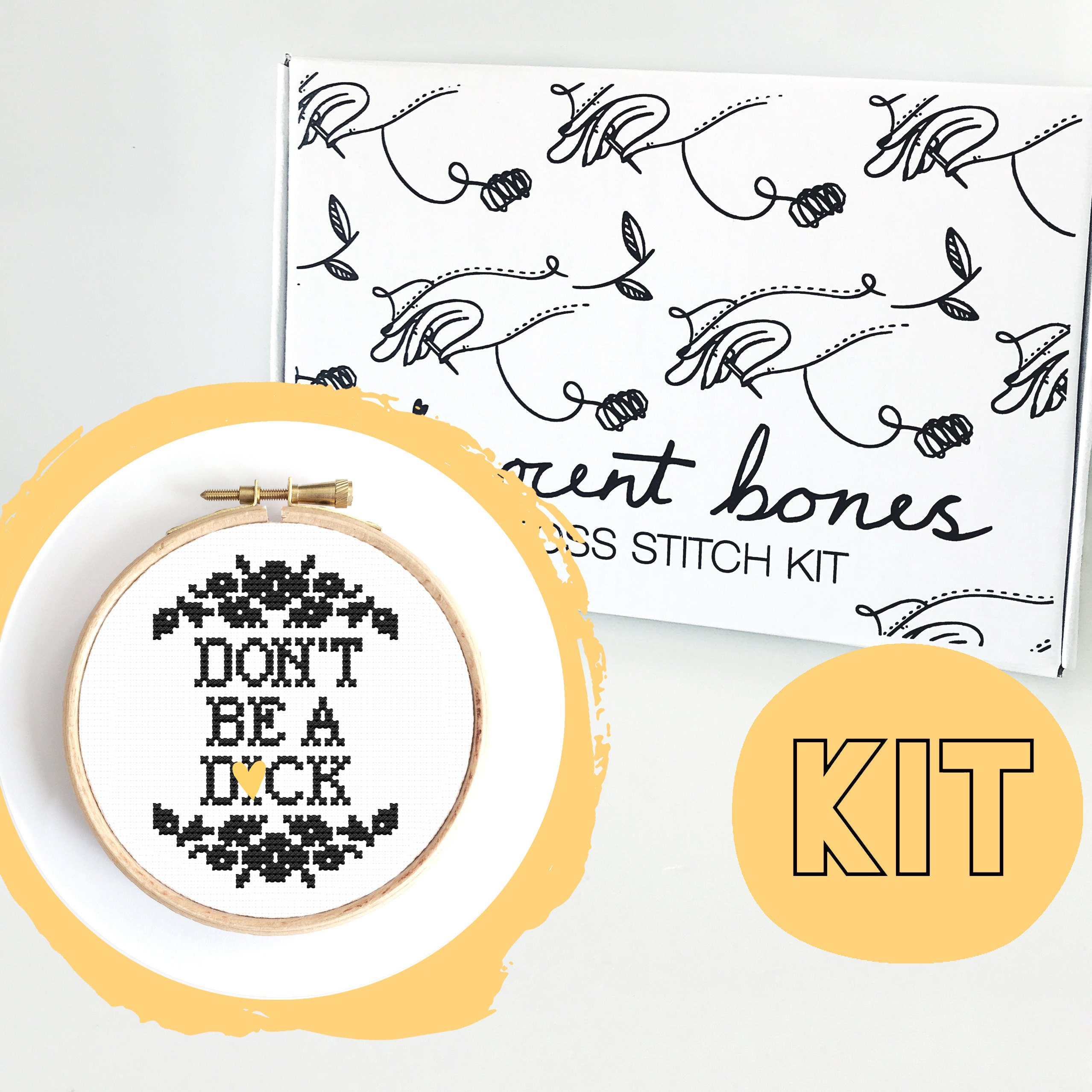 Modern Cross Stitch Kit - Dont Be A D*ck Cross Stitch Pattern - Learn To Cross Stitch - Cross Stitch For Beginners-Alternative Gift Mature