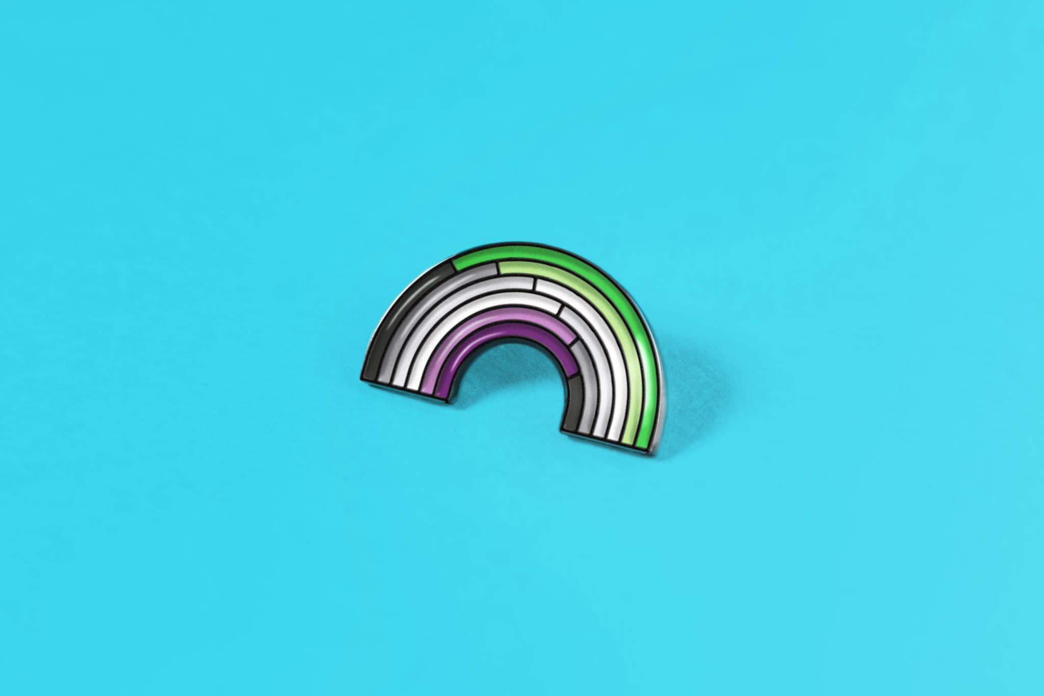 Aroace Rainbow Ace Aro Aromantic Enamel Pin Badge Sticker