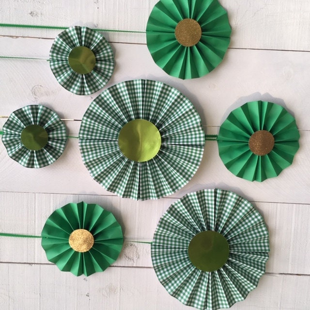 Green plaid and green metallic and glitter gold paper medallions for St. Patricks Day decor