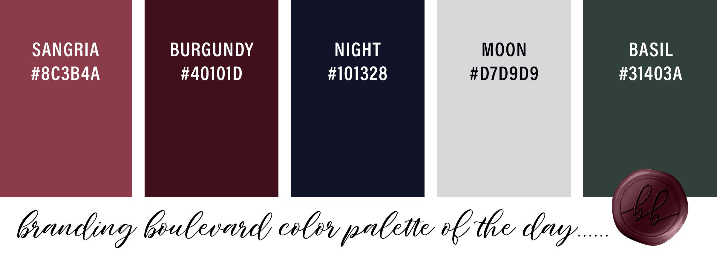 An Evening Cocktail Party Inspired Color Palette - Sangria Punch Red, Burgundy Wine Red, Night Navy Blue, Moon Silver gray, and Basil Green