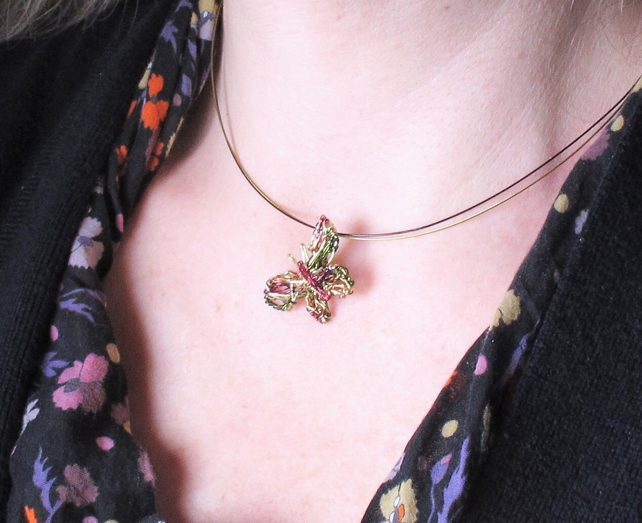 handmade gold butterfly necklace