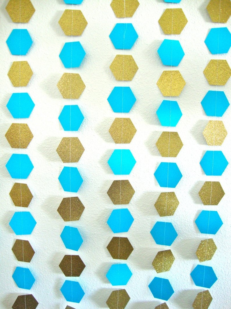 hexagon garlands in turquoise and glitter gold