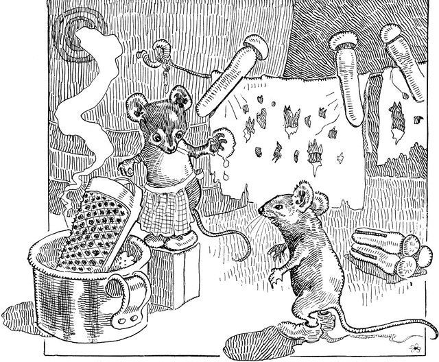 Vintage drawing of mice doing laundry