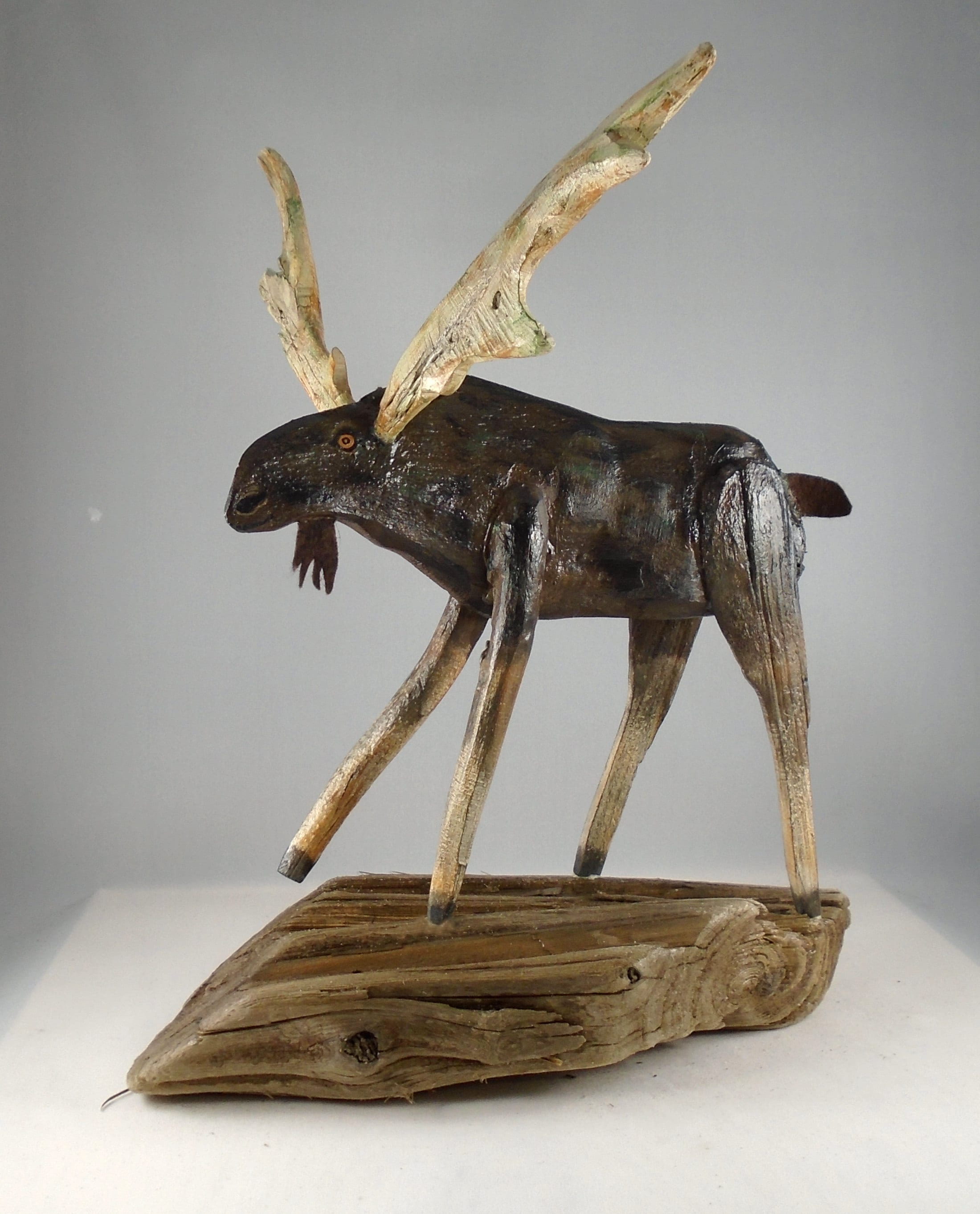 Folk Art Driftwood moose