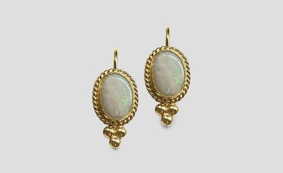 White-Opal-Gold-Braid-Levar-back-earrings-Bezel-set