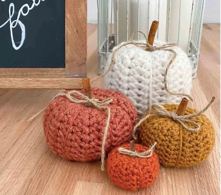 Crochet Pumpkins in a variety of colors