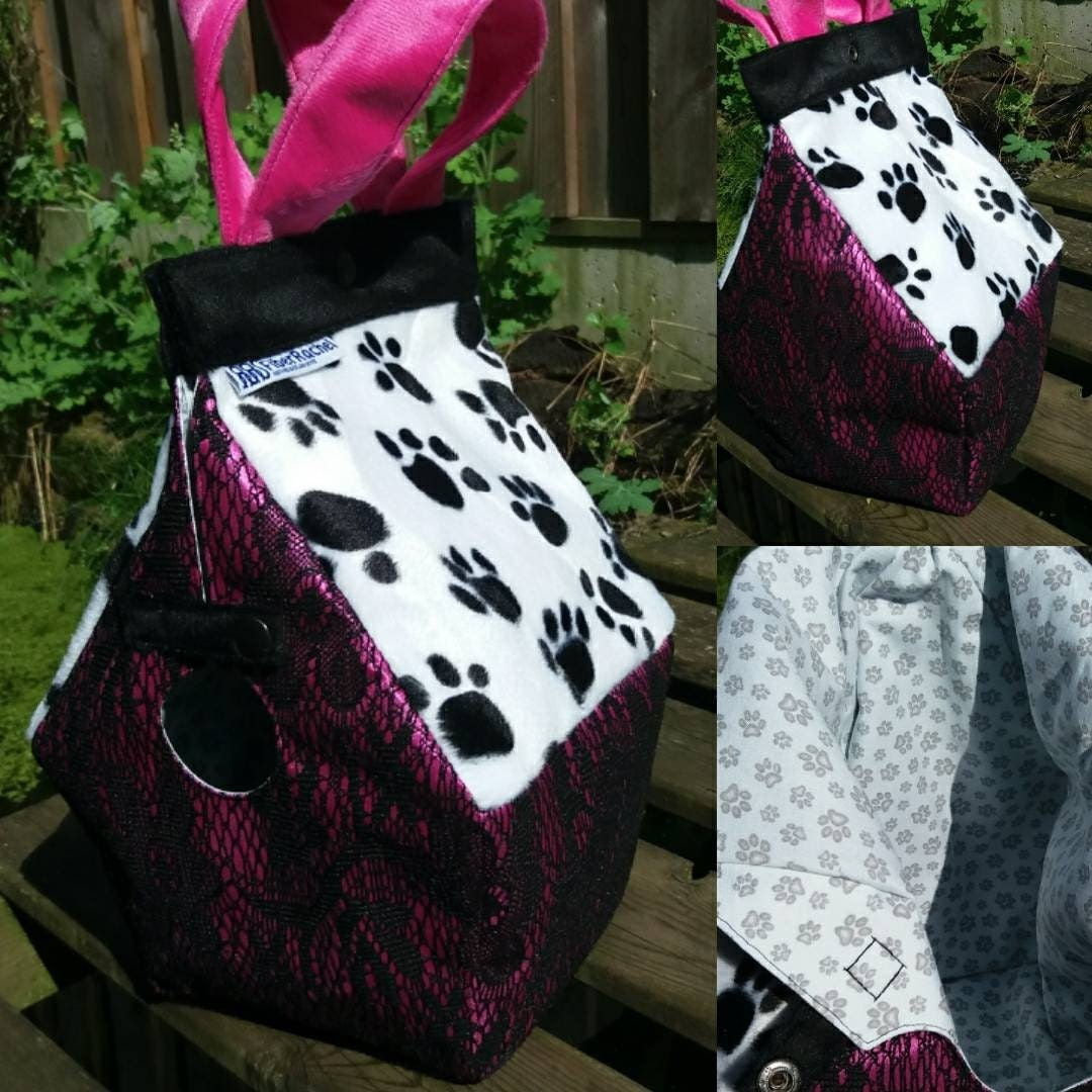 Pink and Black lace bag with paw prints