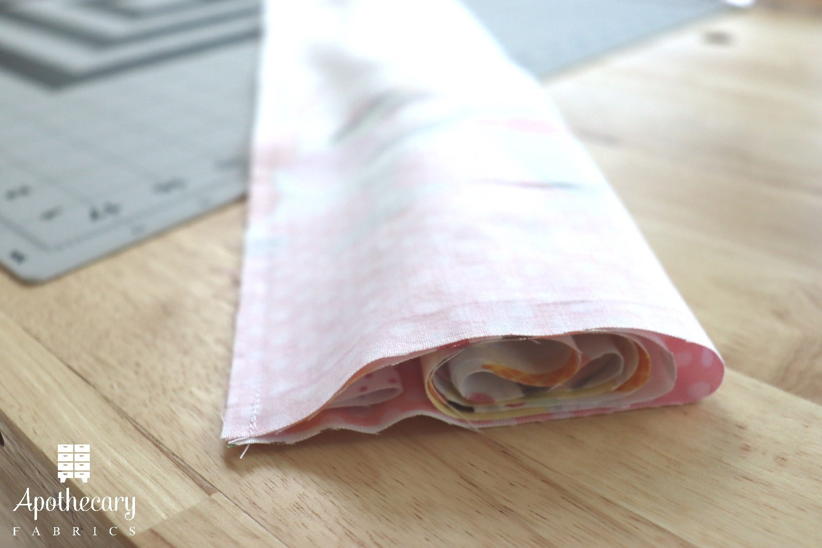The Perfect Pillowcase rolled up by the burrito method and sewn with a 1/4 seam allowance.