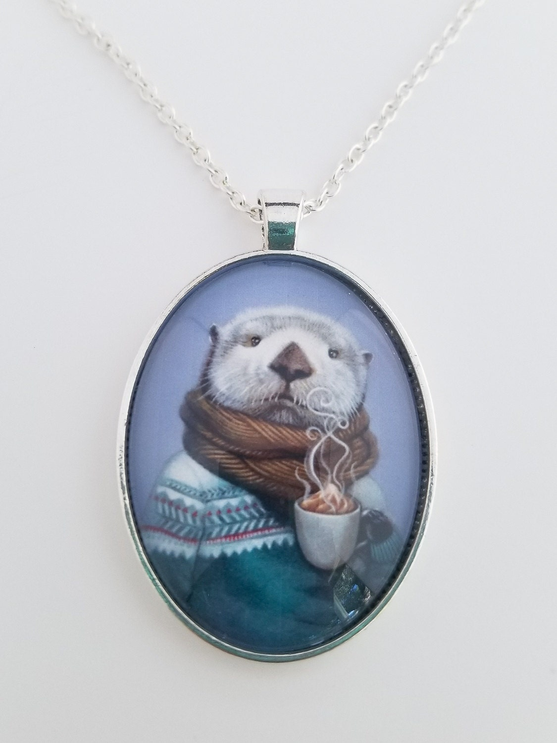 Sea Otter with Hot Cocoa Pendant