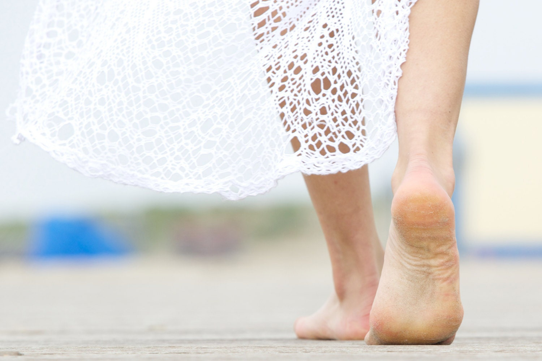 Walk barefoot on the ground