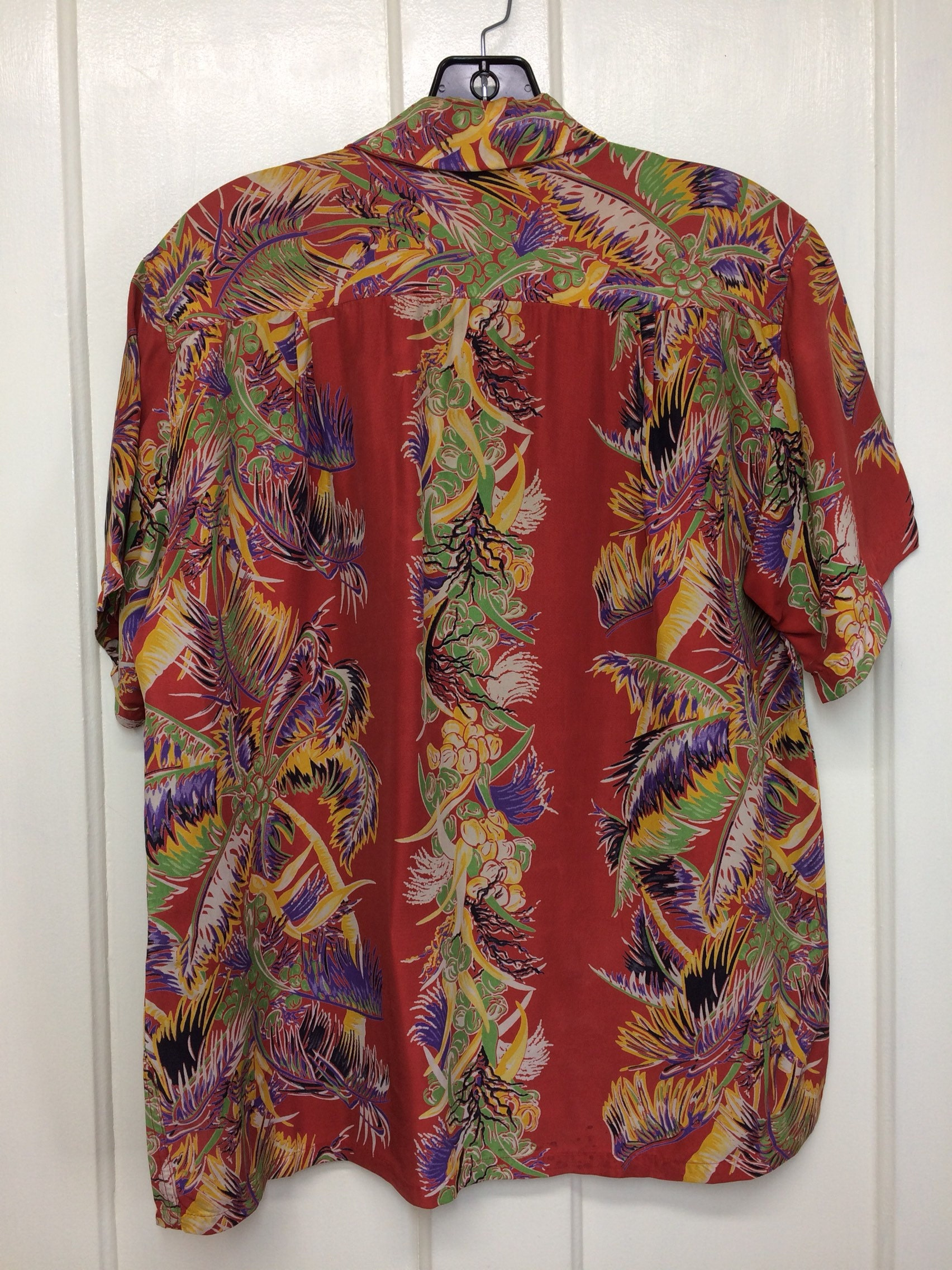 vintage Kamehameha Hawaiian border print shirt from 1950