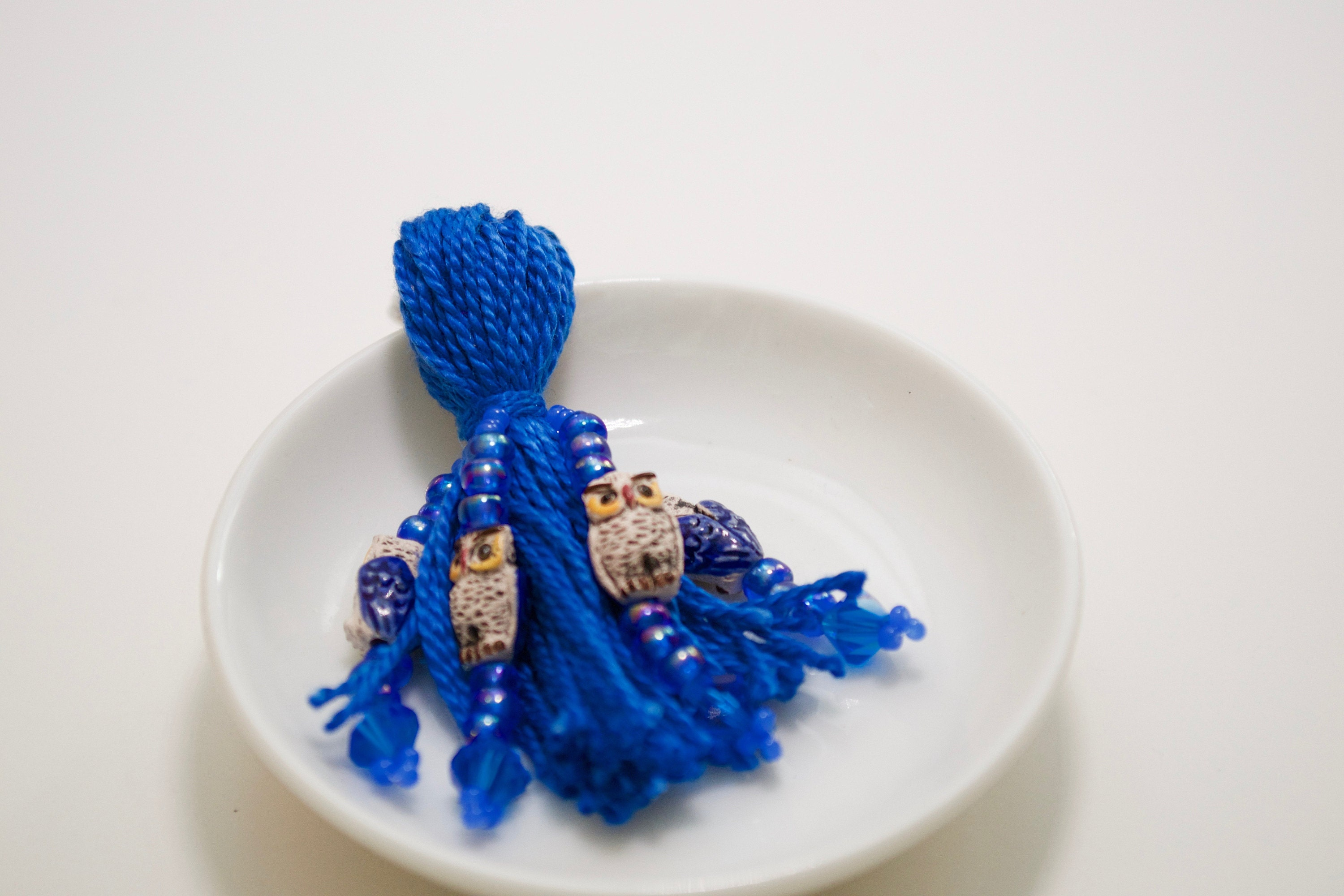 Blue owl beaded tassel keyring
