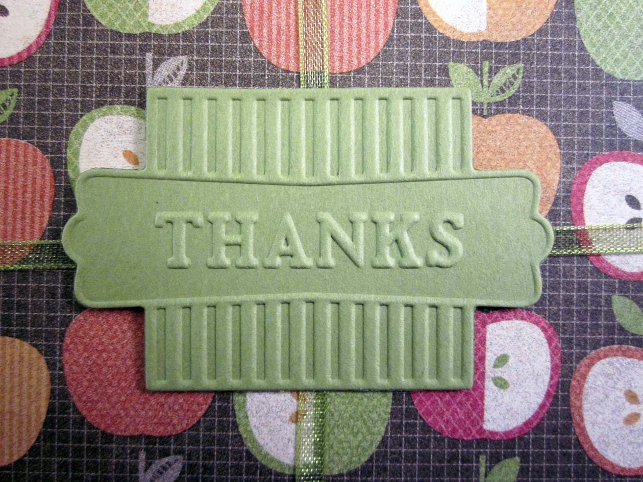 Close up of embossed Thanks card