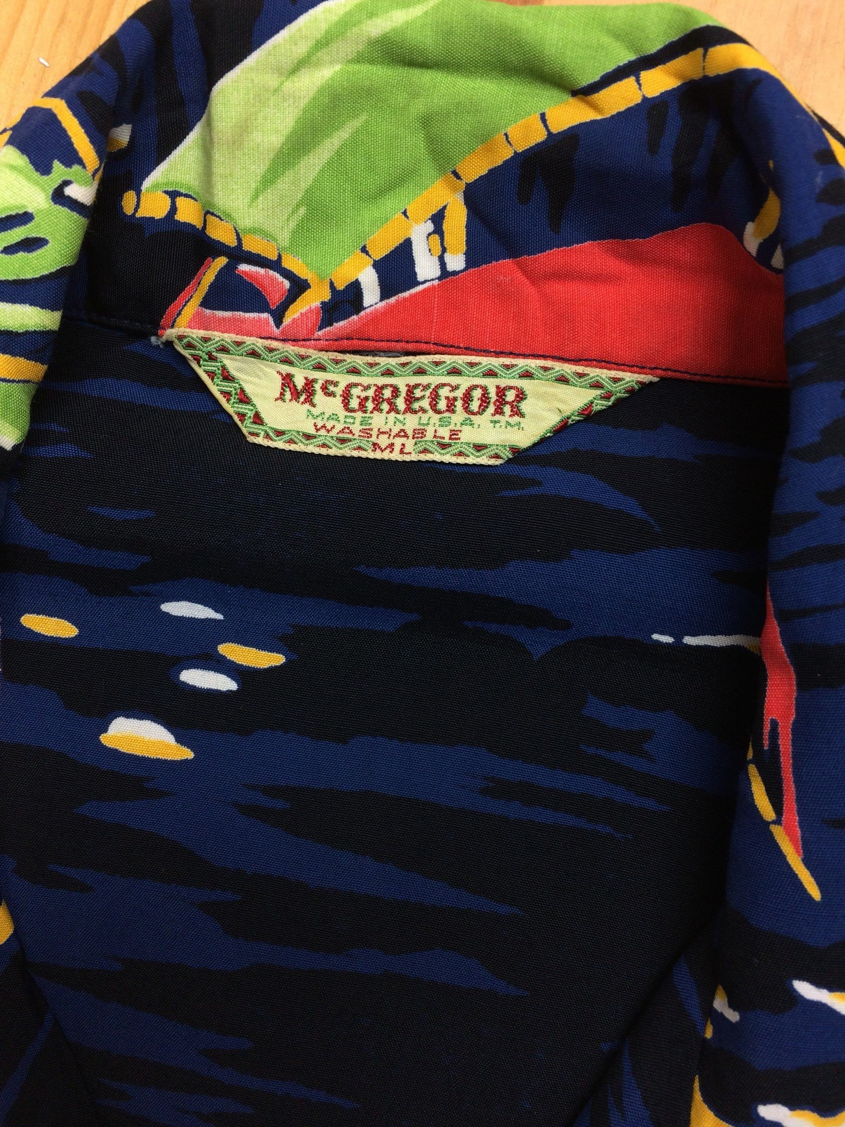vintage McGregor Hawaiian shirt label from 1950