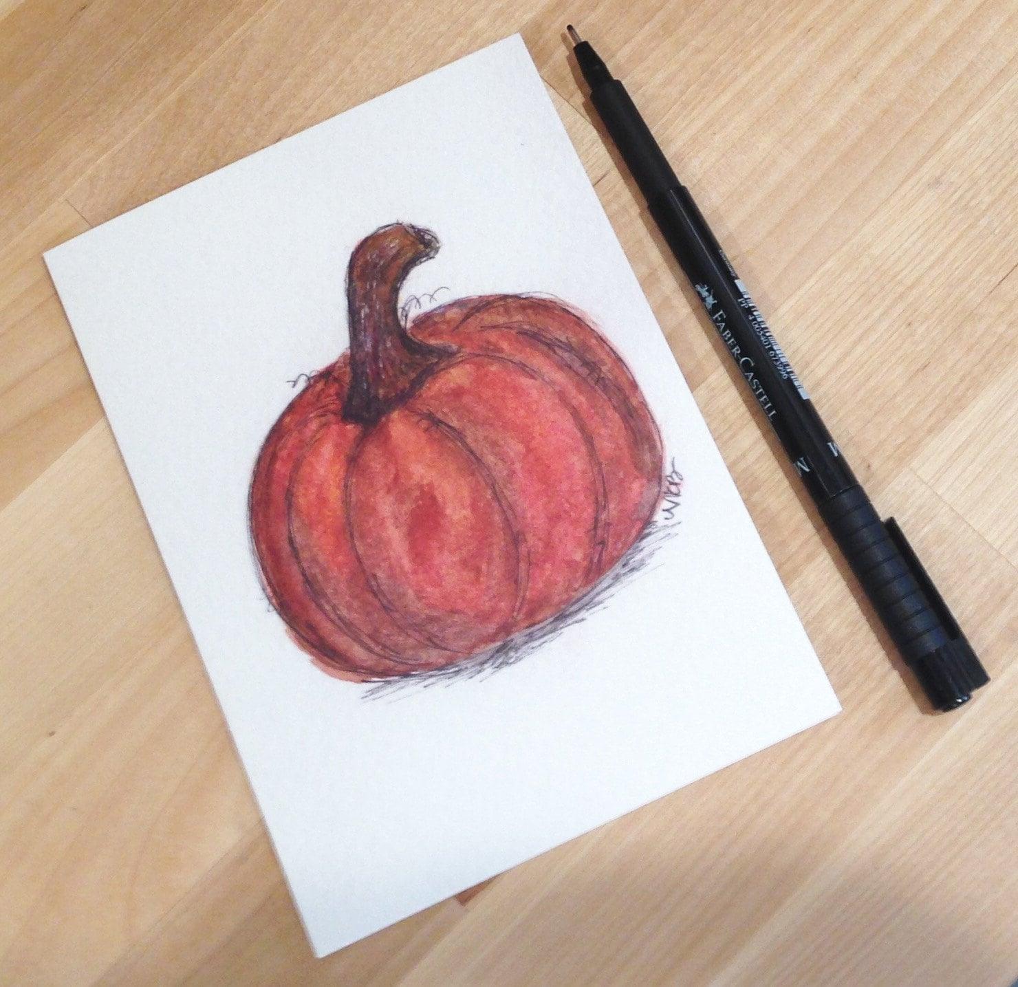 pumpkin illustration greeting card, Natalie Bradley art