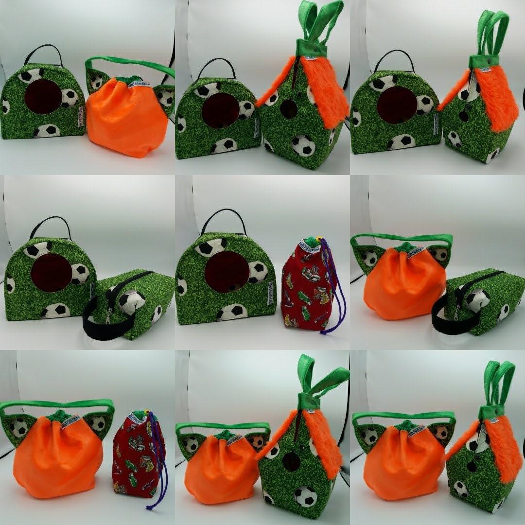 Comparison collage of FiberRachel project bags