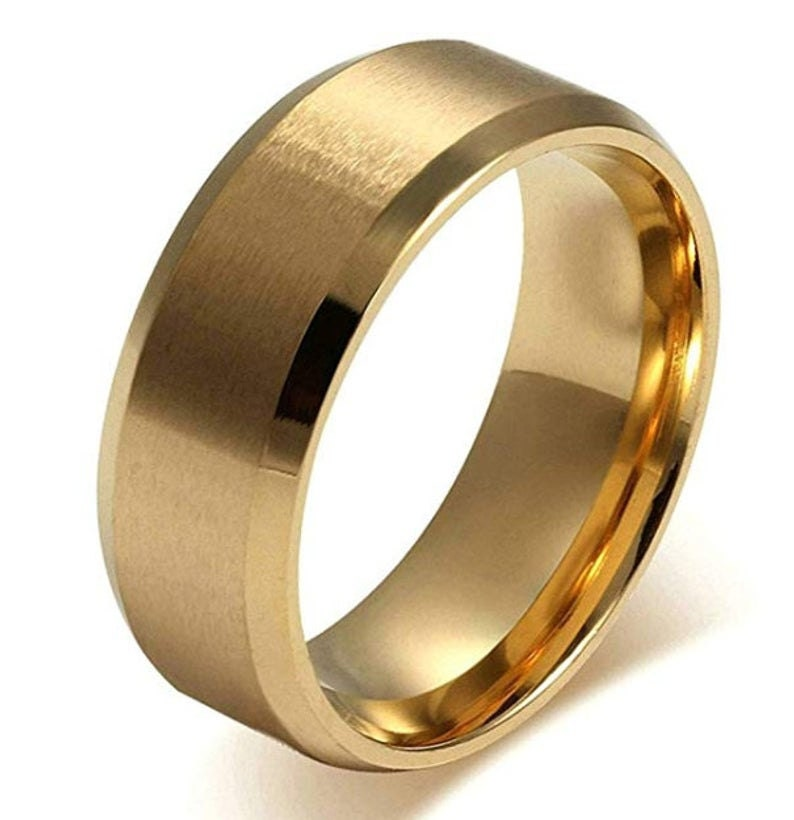 REG 85.00 - 8mm Titanium Stainless Steel Wedding Band In Gold, Silver or Black Finish! (mens, womans, engagement, anniversary, promise ring