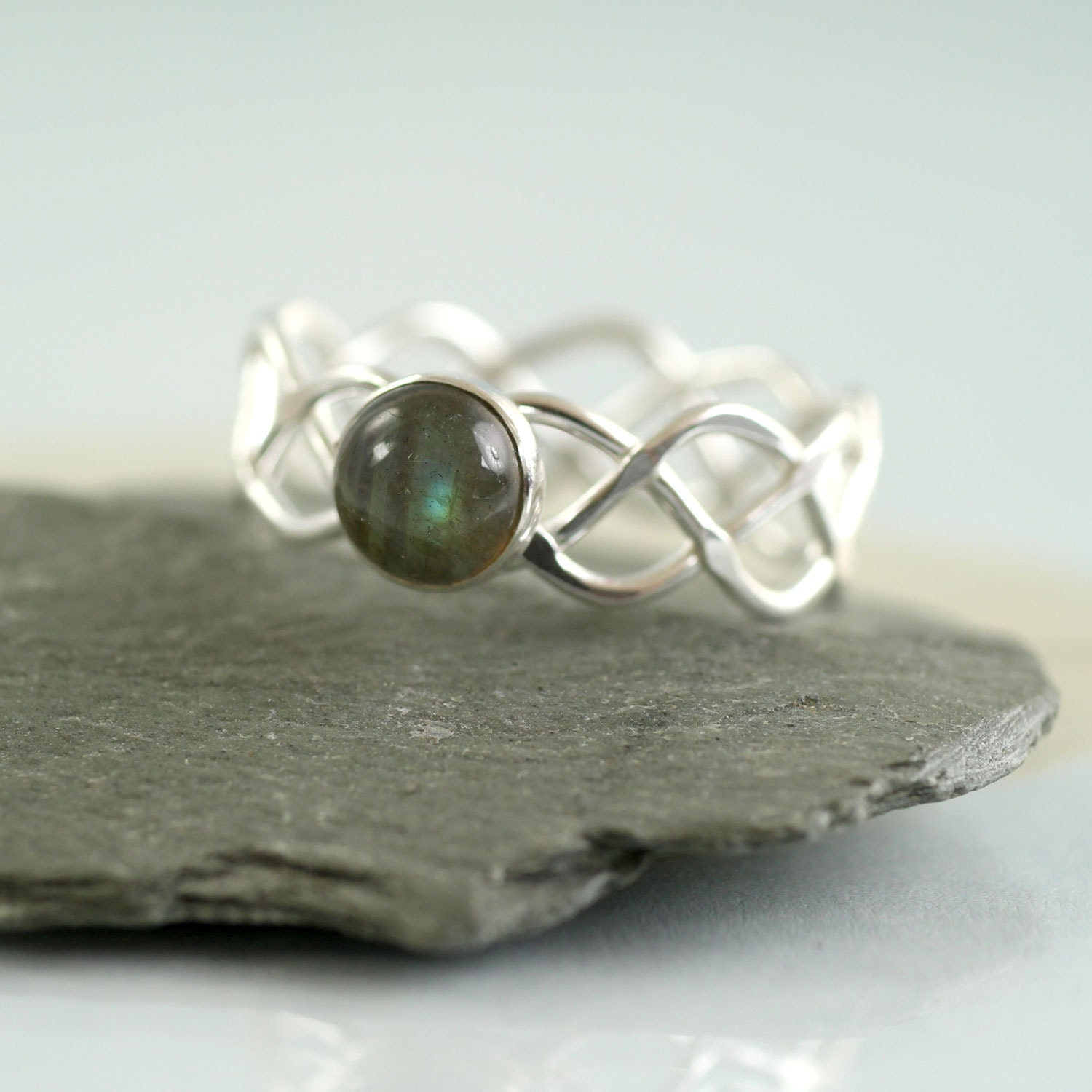 Labradorite Braid Ring