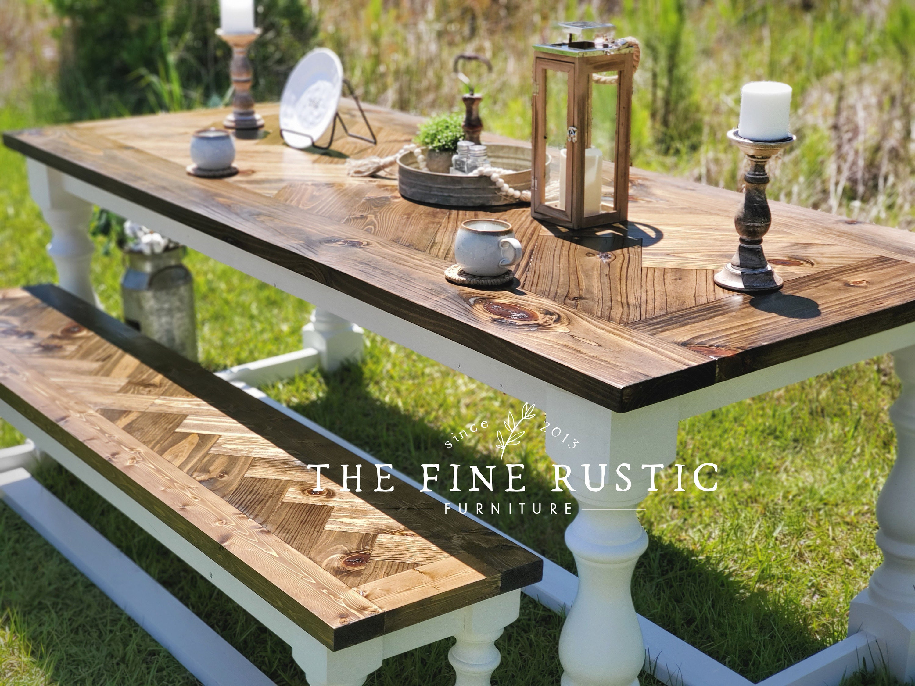 herringbone table with matching bench