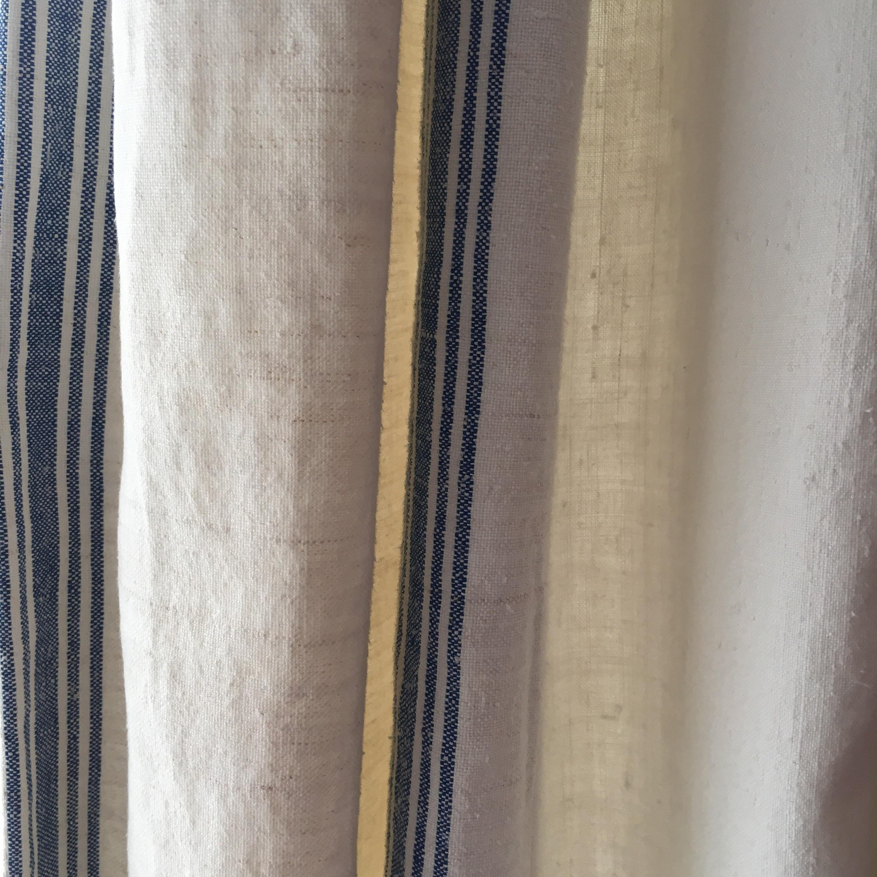 Stripes from a roll of vintage linen joined to a sheet