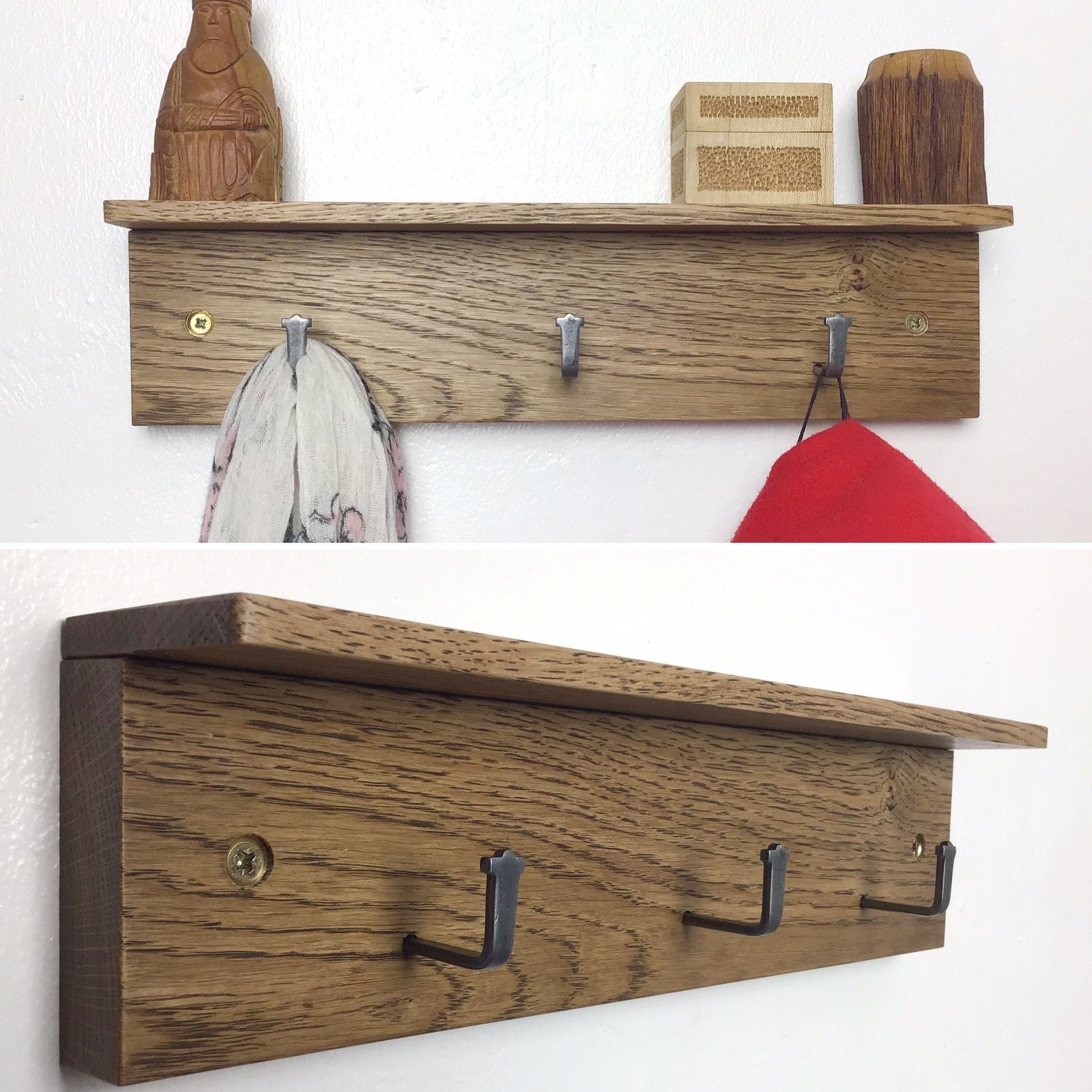 Dark Oak wood Coat Rack 3 hooks 33cm wide made in UK by gorlech