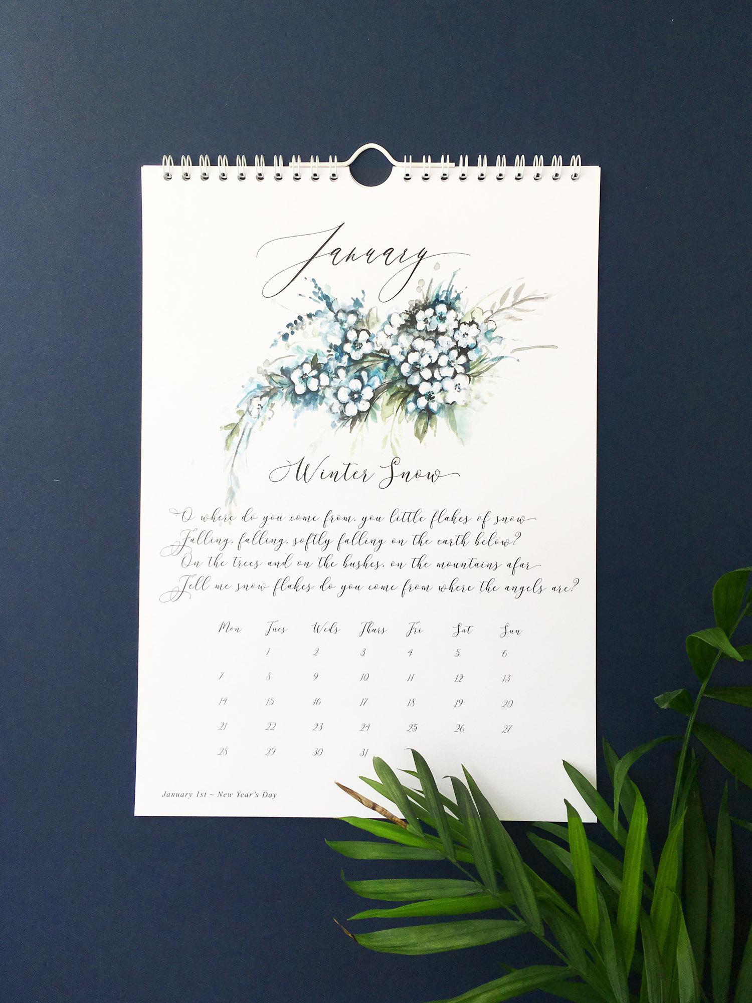 2019 floral wall calendar