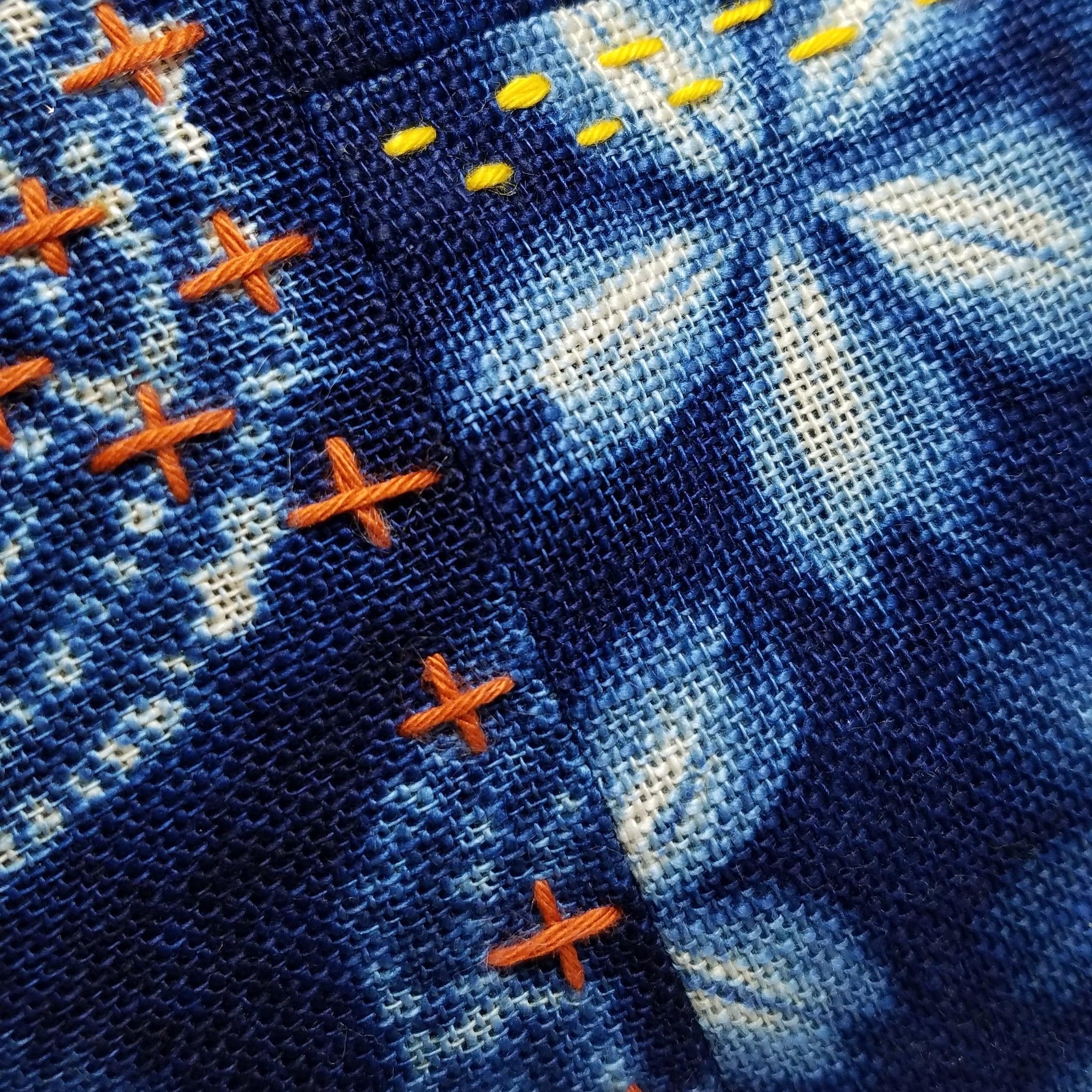 sashiko stitching on komebukuro