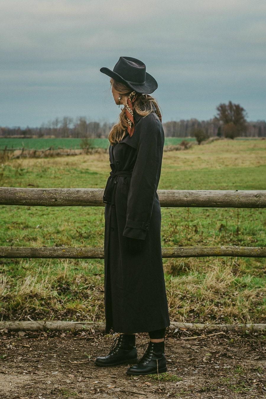 black vintage trench